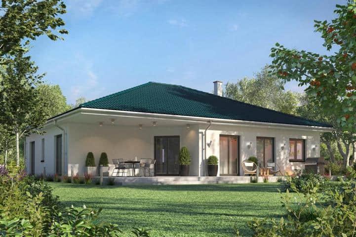 Modernen Winkelbungalow bauen: Mit überdachter Terrasse - Aestas