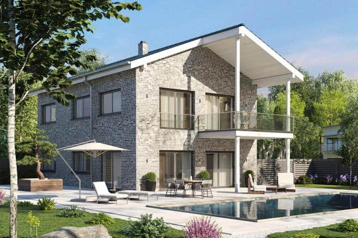 Stadtvilla bauen mit Satteldach und Balkon - Sella